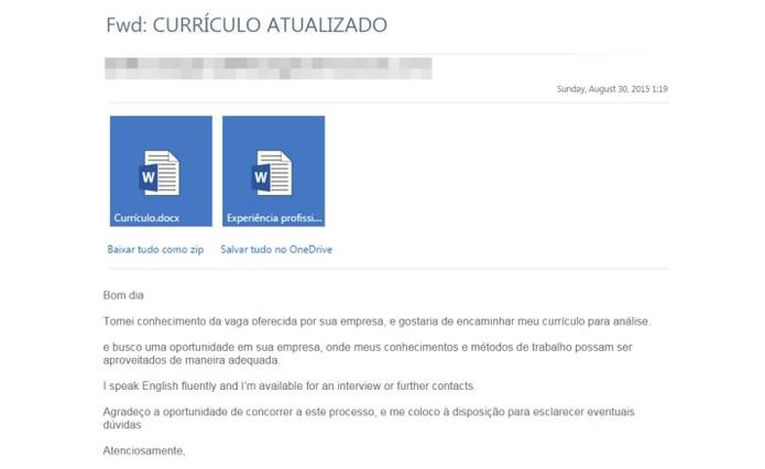 Golpistas enviam currículos falsos para infectar computadores (Foto: Reprodução/Kaspersky Lab)