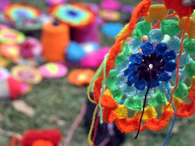 Flor africana é o símbolo do Crochê Transcendental (Foto: Janaína Leocadio/Arquivo Pessoal)