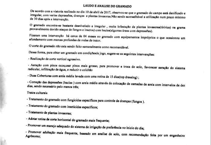 Laudo, estádio, Bernardo Rubinger de Queiroz, Patos de Minas (Foto: Reprodução)