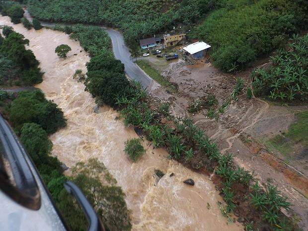 Fotos aéreas de Alfredo Chaves após chuva, no Espírito Santo (Foto: Agrupamento Aéreo da Polícia Militar do ES)