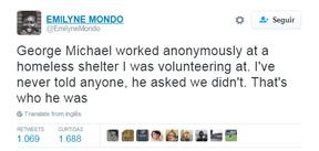 Internauta relata que George Michael trabalhou como vuluntário em abrigo para sem-teto (Foto: Reprodução / Twitter)