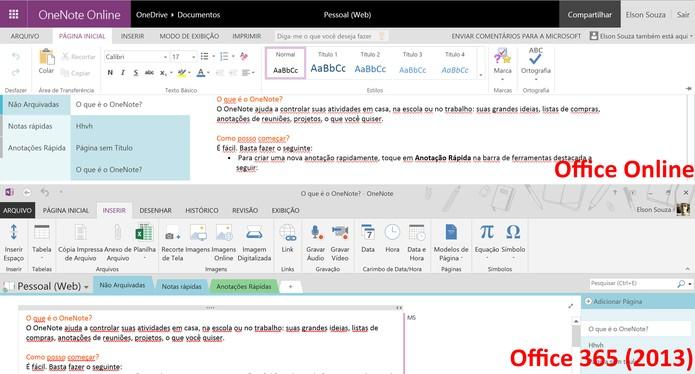 OneNote 2013 pode trabalhar com uma maior variedade de arquivos do que sua versão online (Foto: Reprodução/Elson de Souza)