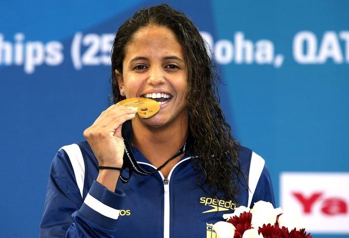 Etiene Medeiros, Ouro Mundial de Natação Doha (Foto: Satiro Sodré / SSpress)