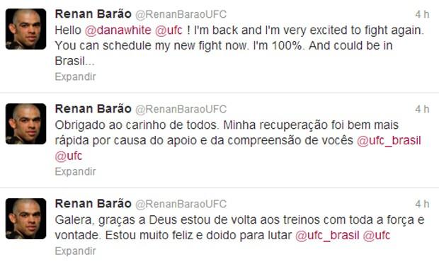 Renan Barão posta pedido a Dana White no Twitter (Foto: Reprodução)