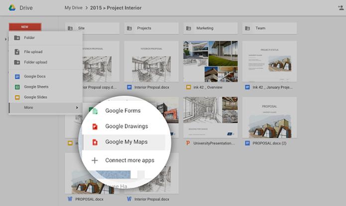 Mapas podem ser criados diretamente a partir do Google Drive (Foto: Reprodução/Google) (Foto: Mapas podem ser criados diretamente a partir do Google Drive (Foto: Reprodução/Google))