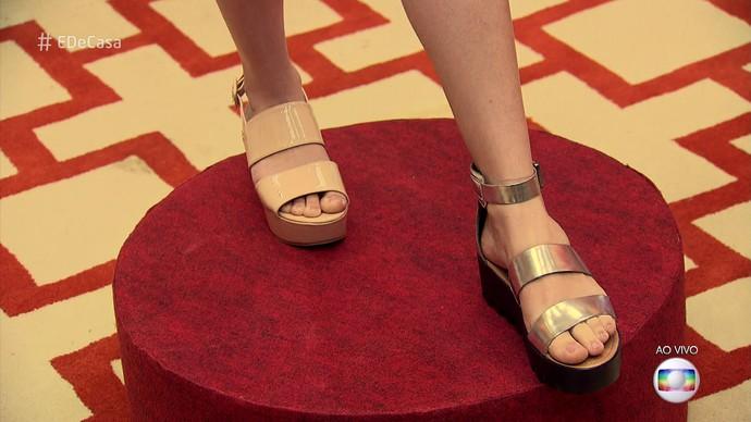Os flatforms metalizados estão em alta e podem ser usados durante o dia também (Foto: TV Globo)
