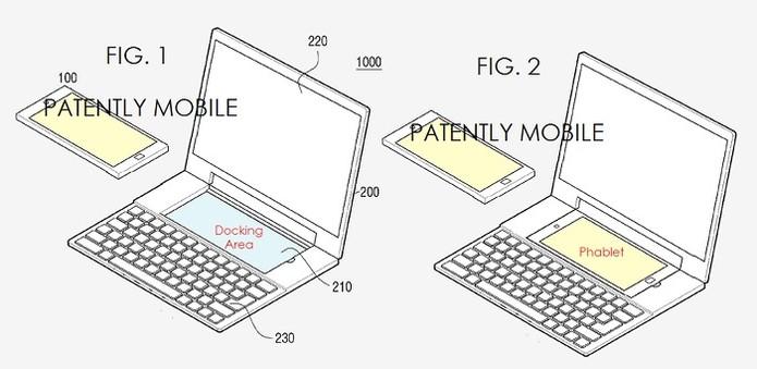 Smartphone pode assumir papel de touchpad (Foto: Reprodução/Patently Mobile)
