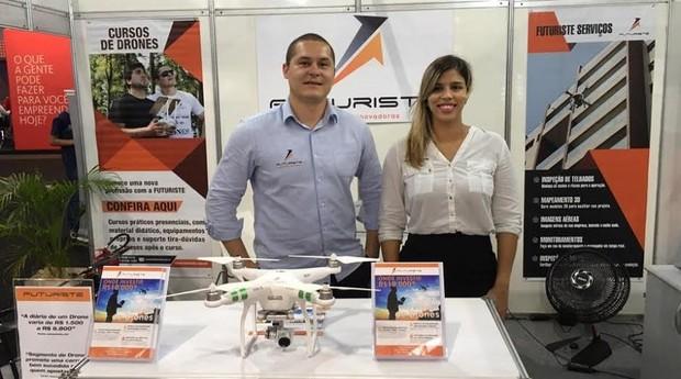 Leonardo Minucio e Raquel Molina, sócios da Futuriste Drones (Foto: Caio Patriani)