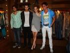 Caio Castro, Sophia Abrahão e Jonatas Faro participam de evento em loja em São Paulo