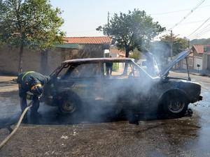 Bombeiros controlaram chamas em Brasília que pegou fogo em Piracicaba (Foto: Fernanda Zanetti/G1)