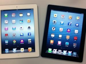 Irmãos gêmos: consegue notar a diferença? O iPad está à direita, ao lado da terceira geração (Foto: Cauê Fabiano/G1)
