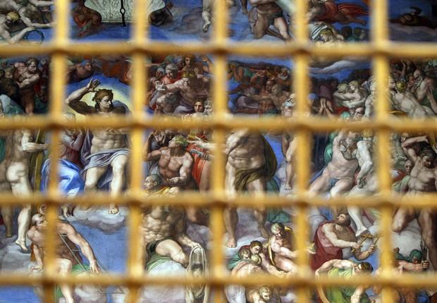 Detalhe da obra de Michelangelo na Capela Sistina, no Vaticano (Foto: Franco Origlia/Getty Images)
