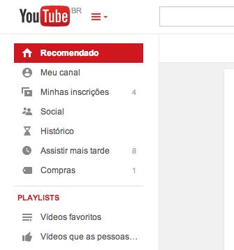 Menu do YouTube foi renovado com mais opções (Foto: Reprodução/Google)