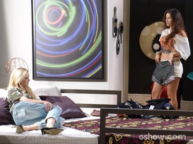 Megan e Luene fazem festinha particular na mansão e se juntam contra Manu (Foto: Geração Brasil/TV Globo)