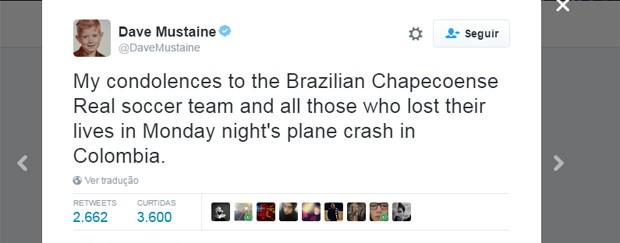 'Minhas condolências ao time brasileiro da Chapecoense e todos que perderam suas vidas no acidente de avião desta segunda à noite na Colômbia', escreveu Dave Mustaine, vocalista e guitarrista do Megadeth (Foto: Reprodução/Twitter/DaveMustaine)