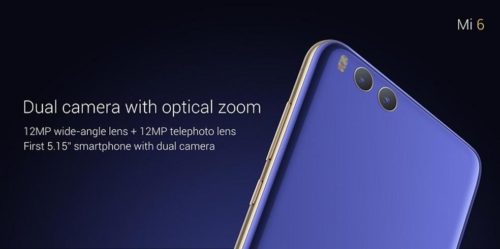 Xiaomi Mi 6 possui câmera dupla na traseira (Foto: Divulgação/Xiaomi)