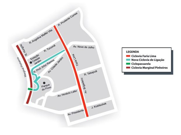 Ciclovia que liga a Avenida Faria Lima à nova ciclopassarela deve ser entregue em breve. (Foto: Divulgação/CET)