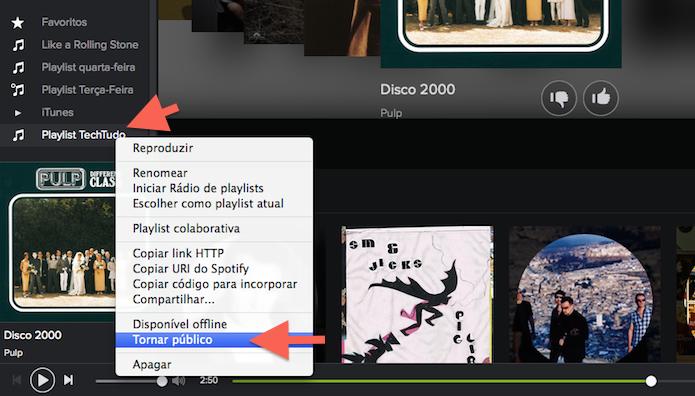 Tornando um playlist do Spotify pública (Foto: Reprodução/Marvin Costa)