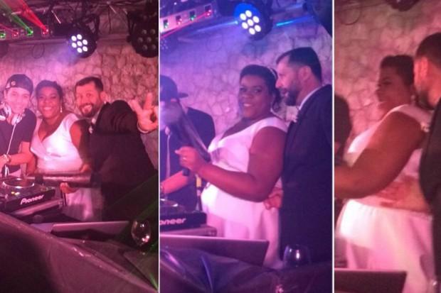 DJ Mark Luk com Cacau Protásio e naderson Pires na pista de dança do casamento (Foto: Léo Martinez/EGO)
