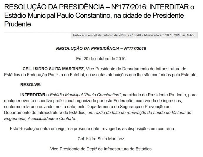 Resolução FPF - Prudentão interditado (Foto: Site da FPF / Reprodução)