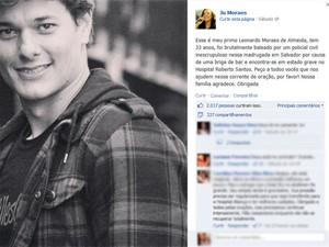 Cantora Jú Morais aponta policial civil como autor de disparos contra primo (Foto: Reprodução/ Facebook)