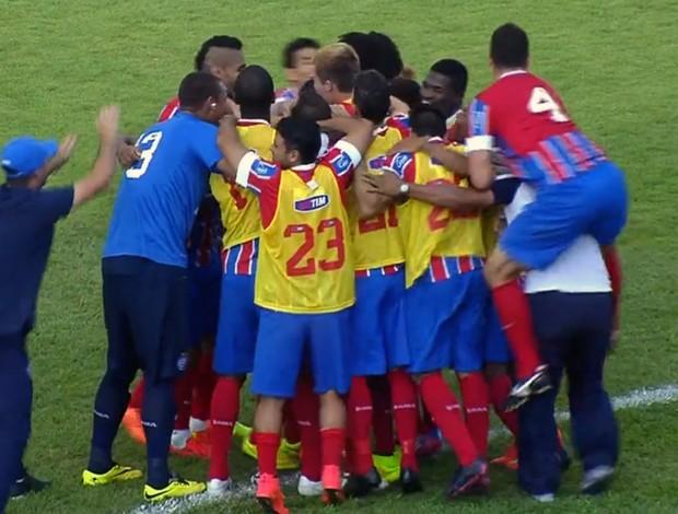 Bahia x Figueirense - comemoração de gol (Foto: Repodução)