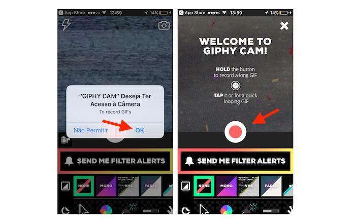 Opção para criar uma GIF na extensão para Facebook Messenger Giphy Cam (Foto: Reprodução/Marvin Costa)