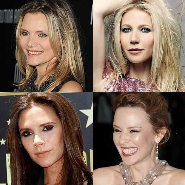 Michelle Pfeiffer, Gwyneth Paltrow, Victoria Beckham e Kylie Minogue (Foto: Getty Images/Agência, Divulgação, Reuters/Agência e AgNews)