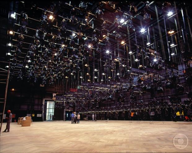 Estúdio com cenários desmontados (Foto: Acervo Globo)