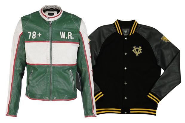 Jaqueta de couro verde e branco Diesel (R$ 3.555); modelo college Cavalera (R$ 619) (Foto: Divulgação)