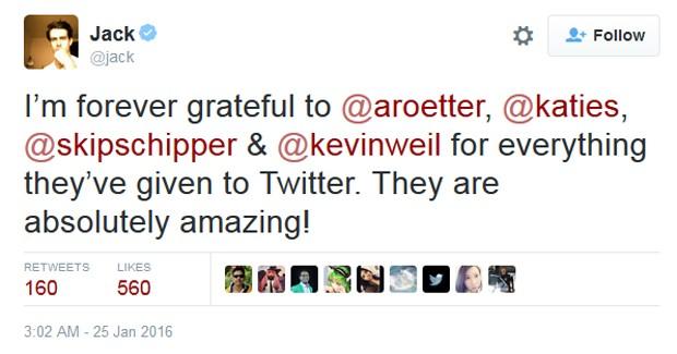 Presidente e fundador do Twitter, Jack Dorsey, comentou saída de vice-presidentes (Foto: Reprodução/Twitter)