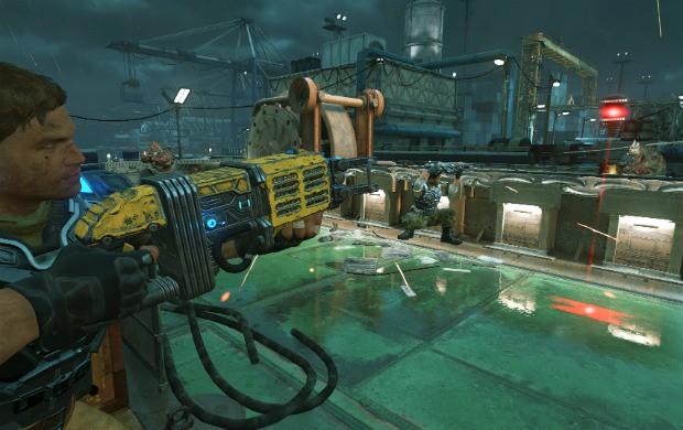 """Legenda: 'Dropshot', nova arma de 'Gears of War 4"""", é um tipo de furadeira que voa e pode explodir um grupo de adversários. (Foto: Divulgação)"""