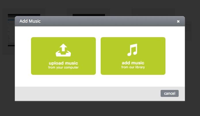 Escolha entre enviar uma música ou utilizar a biblioteca de músicas (Foto: Reprodução/André Sugai)