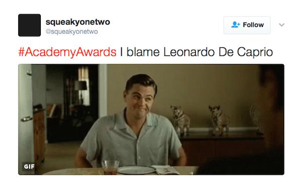 """""""Eu culpo Leonardo DiCaprio"""", disse uma fã (Foto: Twitter)"""