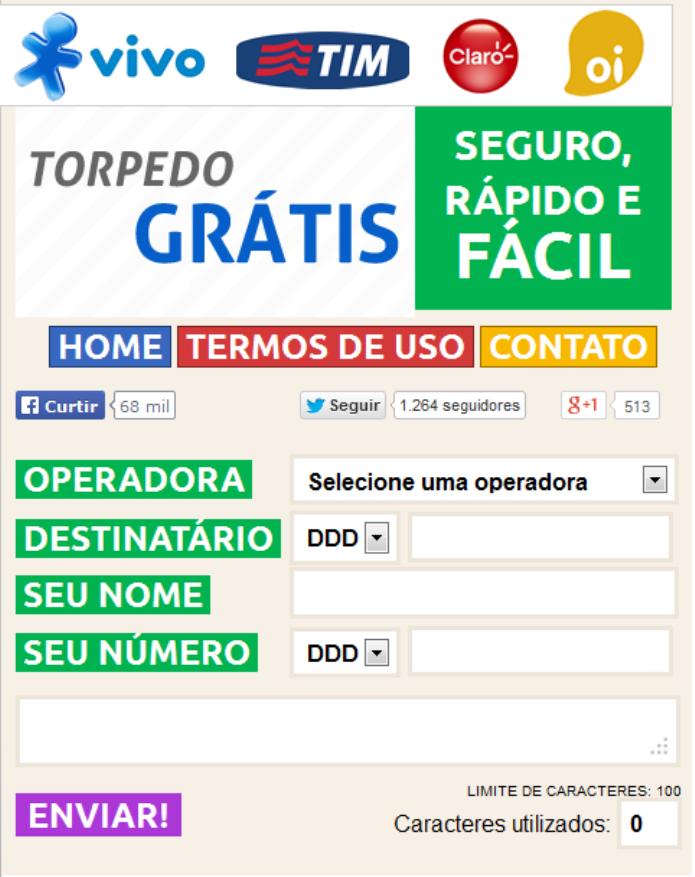 O site Torpedo Grátis permite o envio de SMS de graça (Foto: Reprodução/Lívia Dâmaso)