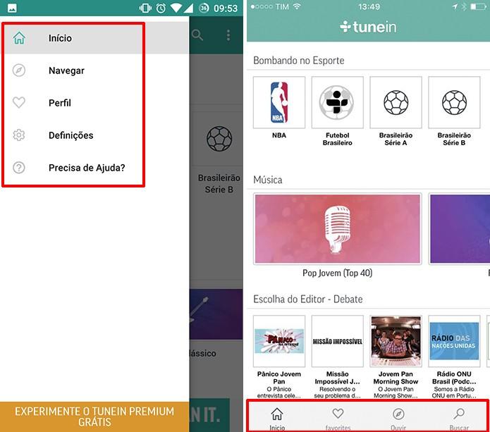 TuneIn para Android (esquerda) e iOS (direita) tem menus localizado em posições diferentes (Foto: Reprodução/Elson de Souza)
