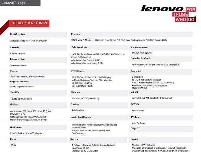Parte do PDF contendo especificações do Lenovo Yoga 3 11 (Foto: Reprodução/Tab Tec)