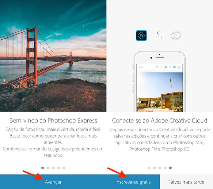 Opção para iniciar um cadastro no Adobe Photoshop Express (Foto: Reprodução/Marvin Costa)
