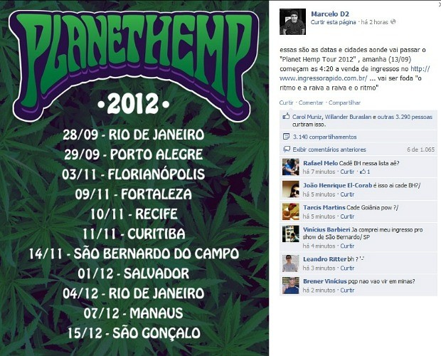 Marcelo D2 confirmou turnê do Planet Hemp no Facebook (Foto: Reprodução)