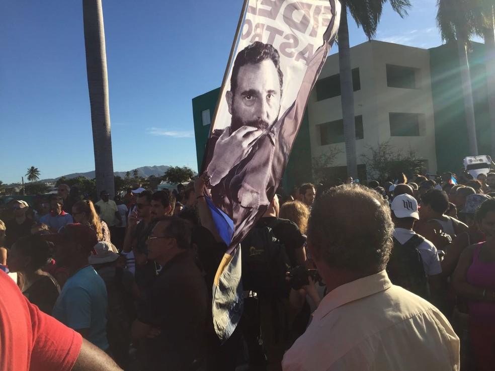 Fidel Castro recebeu homenagens ao longo da semana dos cubanos; neste domingo, foi a vez dos moradores de Santiago de Cuba (Foto: Letícia Macedo/G1)