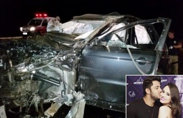 Cristiano Araújo e namorada morrem em acidente de carro na BR-153 em Morrinhos, Goiás (Foto: Reprodução/TV Anhanguera)