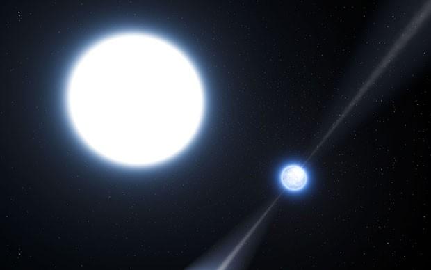 Outra concepção artística do raro par de estrelas. Segundo cientistas, a descoberta confirma a teoria da relatividade de Albert Einstein (Foto: Divulgação/ESO)