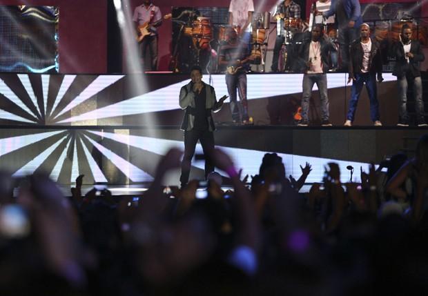 Xanddy durante show (Foto: Ricardo Cardoso/Ed Globo)