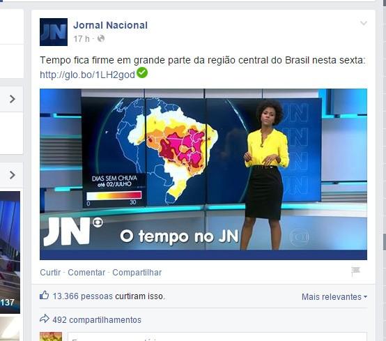 O post na página oficial do JN (Foto: Reprodução Facebook)