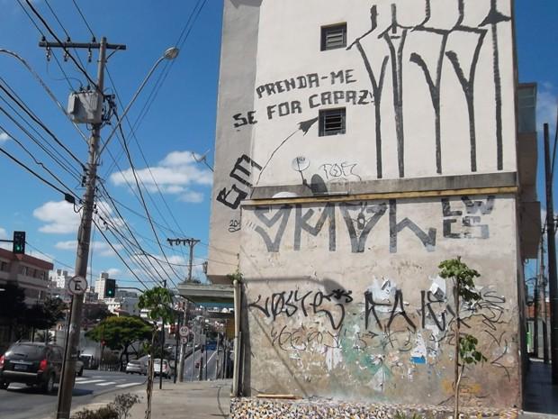 Pichadores em Belo Horizonte desafiam a polícia (Foto: Alex Araújo / G1)