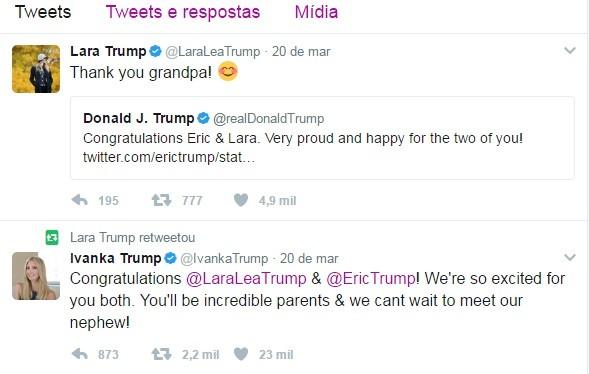 Lara Trump agradece à mensagem de Trump no Twitter (Foto: Reprodução)