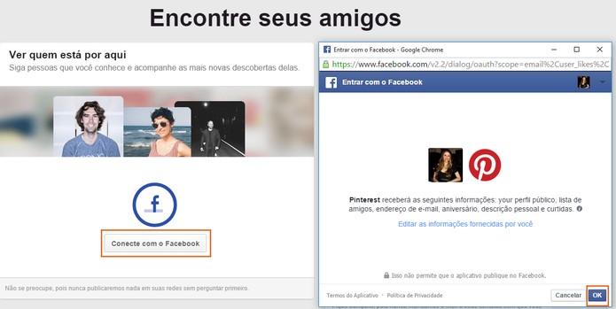 Confirme a ação no Facebook e busque pelos contatos pelo Pinterest (Foto: Reprodução/Barbara Mannara)