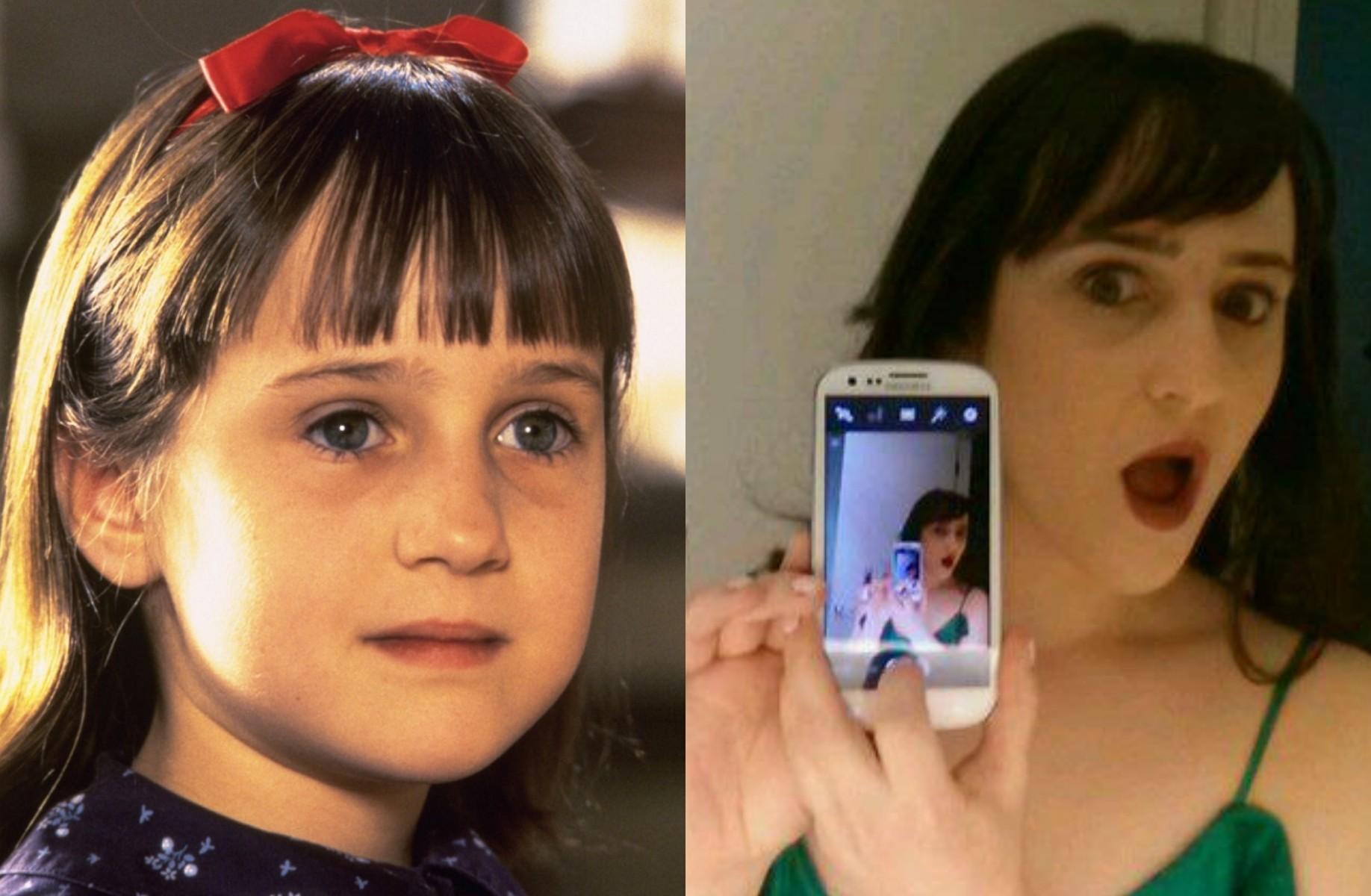 Mara Wilson está com 27 anos e tem escrito roteiros. Mas será sempre lembrada pelo papel-título de 'Matilda' (1996). (Foto: Reprodução e Twitter)