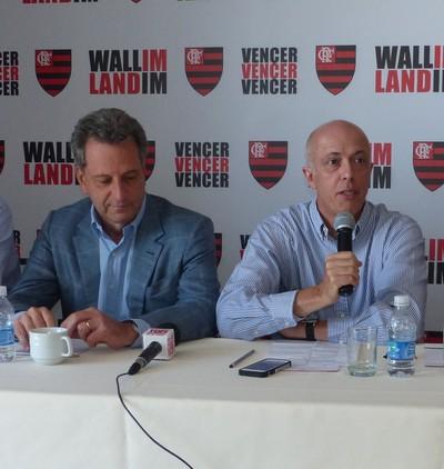 Gustavo Oliveira, Rodolfo Landim, Wallim Vasconcelos e Luiz Eduardo Baptista eleições Flamengo (Foto: Fred Gomes)