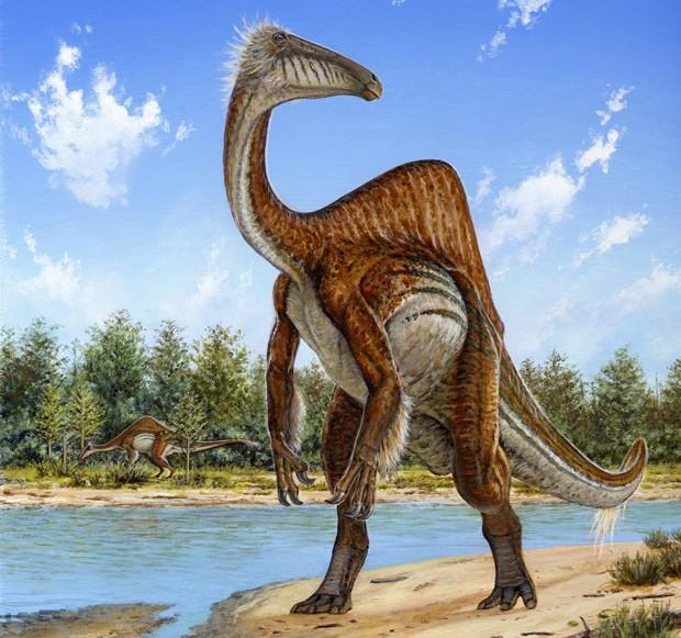Concepção artística mostra como seria o dinossauro Deinocheirus, cuja aparência foi reavaliada depois de esqueleto completo ser encontrado (Foto: AP Photo/Michael Skrepnick, Dinosaurs in Art, Nature Publishing Group)